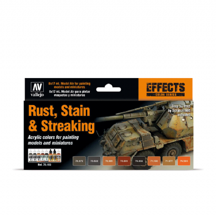 Vallejo Model Colour Rust, Stain & Streaking Paint Set